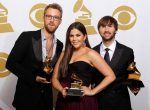 """Lady Antebellum pose with their Grammy for Best Country Album (""""Own The Night"""") in Los Angeles"""