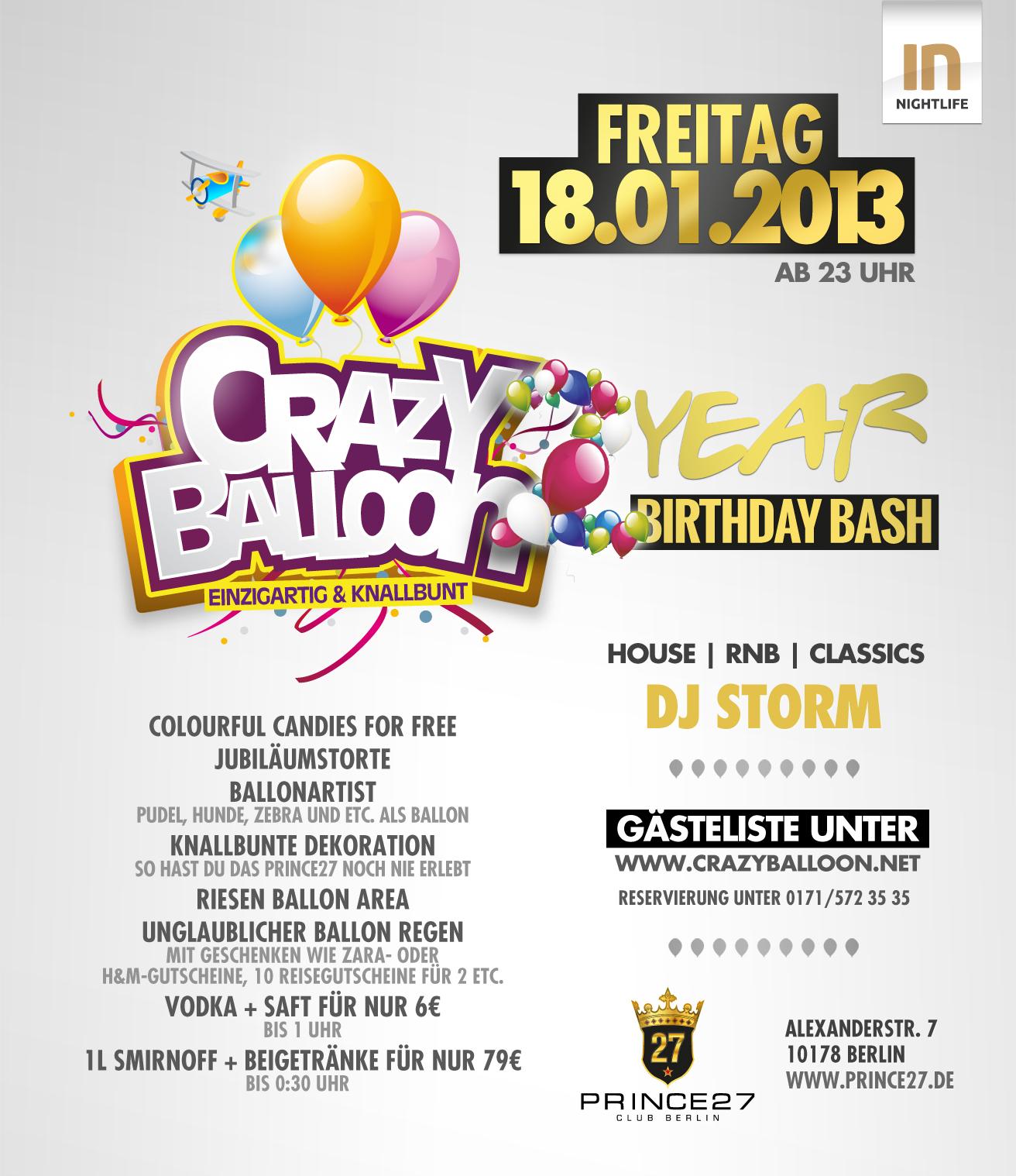 2 Jahre Crazy Balloon im Nobelclub Prince 27 Club
