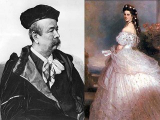 """Charles Frederick Worth / Elisabeth """"Sissi"""" von Österreich mit einem Kleid von Worth. Porträt von Franz Xaver Winterhalter, 1865"""
