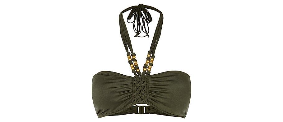 Khaki Macrame Bead Bandeau Halterneck Bikini Top auf http://www.newlook.com /  http://www.newlook.com/shop/womens/swimwear/khaki-macrame-bead-bandeau-halterneck-bikini-top-_272322334 / £14.99