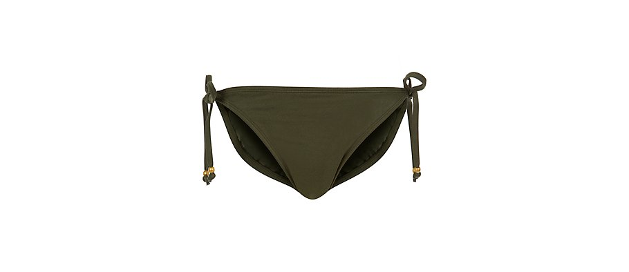 Khaki Macrame Bead Tie Side Bikini Bottoms auf  http://www.newlook.com / http://www.newlook.com/shop/womens/swimwear/khaki-macrame-bead-tie-side-bikini-bottoms_272326234 /  £7.99